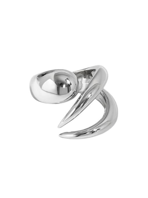 Platinum [16 adjustable] 925 Sterling Silver Irregular Vintage Band Ring